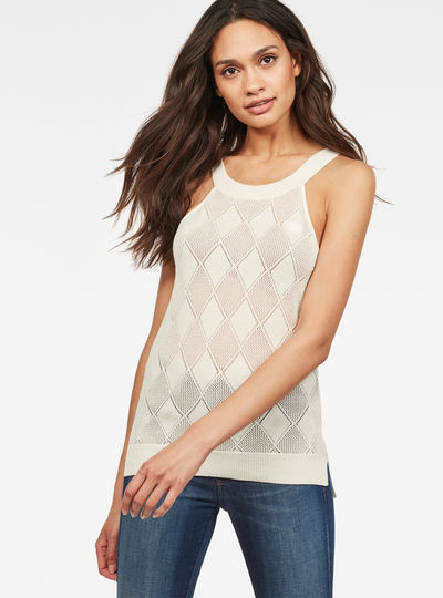 Pointelle Tank Top Stricktop
