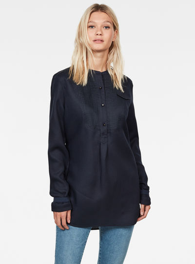 Pleated Bib Tunic Shirt