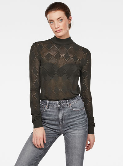 Pointelle Turtleneck Knitted Sweater