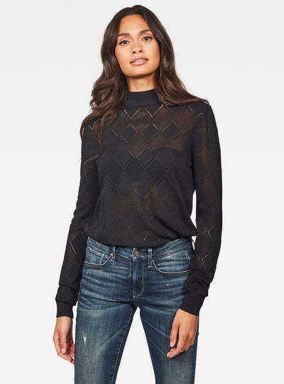 Pull en maille Pointelle Turtleneck