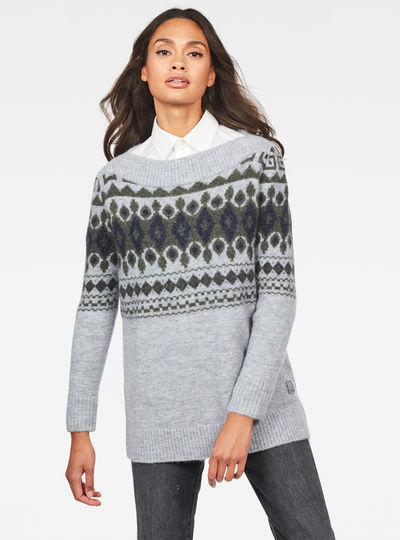 Jacquard Boat Knitted Sweater