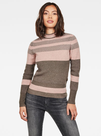 Exly Stripe Mock Turtleneck Knitted Sweater