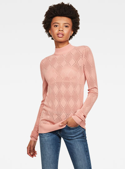 Pointelle Turtleneck Knitted Pullover