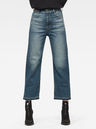 Tedie Ultra High Straight Ripped Edge Ankle C Jeans