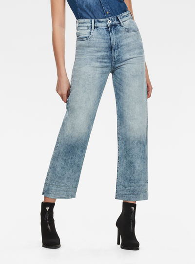 Tedie Ultra High Straight Ripped Edge Ankle Jeans