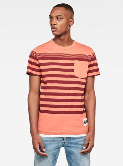 T-shirt Vacation Stripe Pocket
