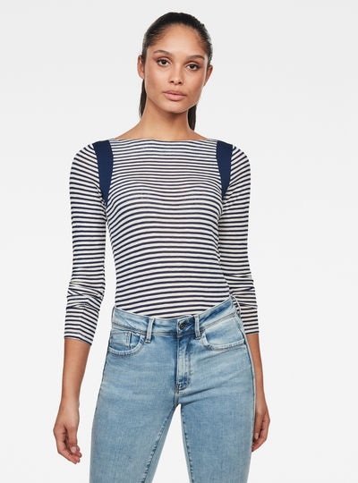 Zovas Yarn Dyed Stripe Slim Top