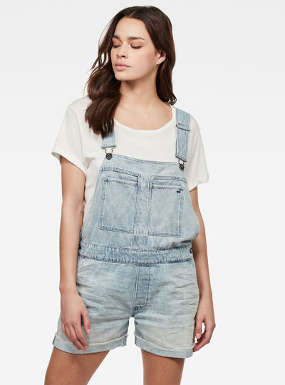Faeroes Boyfriend Short Overall Ripped Edge Turnup
