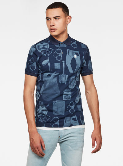 Dunda Materials Allover Graphic Slim Polo