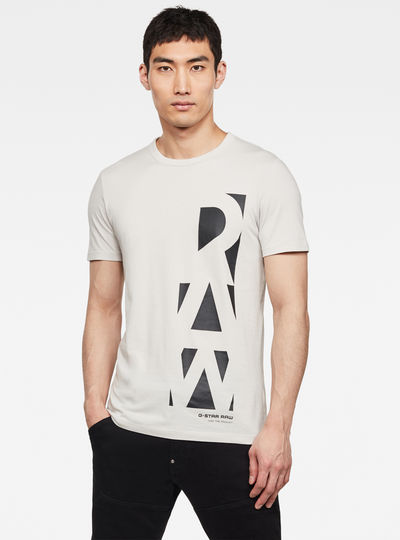 Vertical Raw GR Slim Round Neck T-Shirt