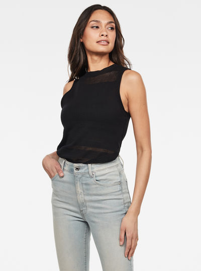 Inqar Tanktop Slim R Mesh Knitted Top