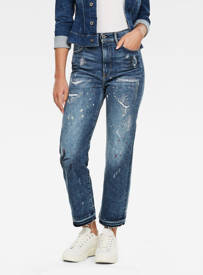 Jeans Tedie Ultra High Straight Ripped Edge Ankle