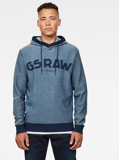 Gsraw Hooded Knit Sweatshirt