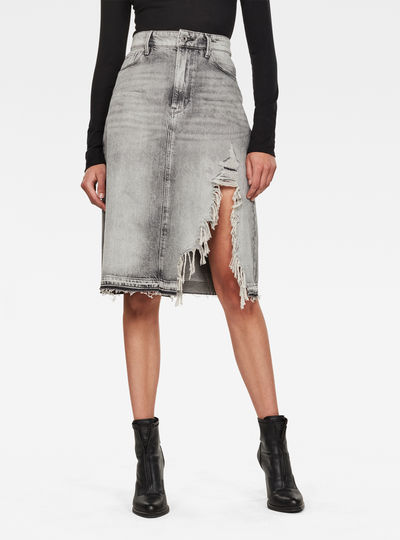 3301 A-line Midi Ripped Edge Skirt
