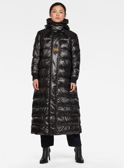 Extra Long Hooded Padded Puffer Jacke