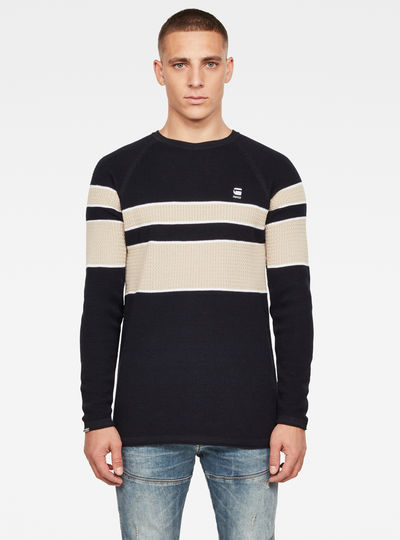 Raglan Block Stripe Knitted Sweater