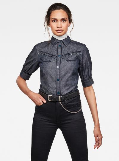 Western Kick Puff Ruffle Slim Overhemd