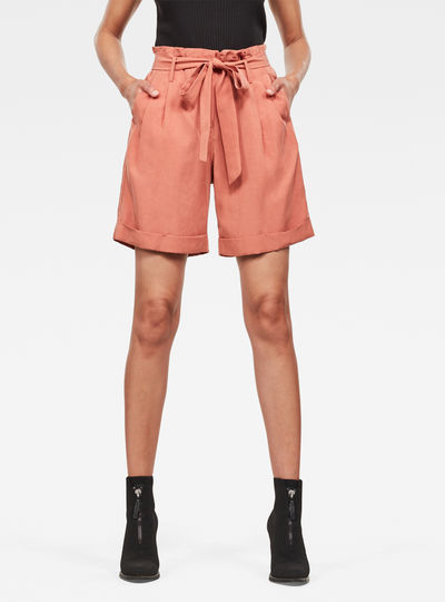 Pleated High Shorts