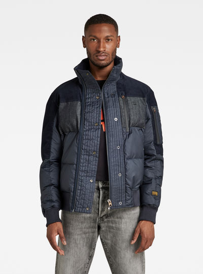 Denim Mix Quilted Puffer Jacket