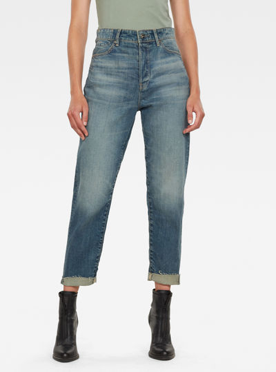 Janeh Ultra High Mom Ripped Edge Ankle Jeans C