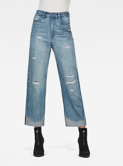 Tedie Ultra High Straight Turn Up Raw Edge Ankle Jeans