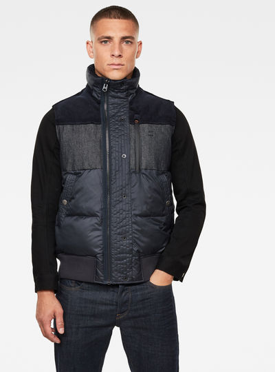 Denim Mix Quilted Puffer Vest