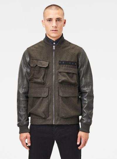 Multi Pocket Varsity Leather Jacket
