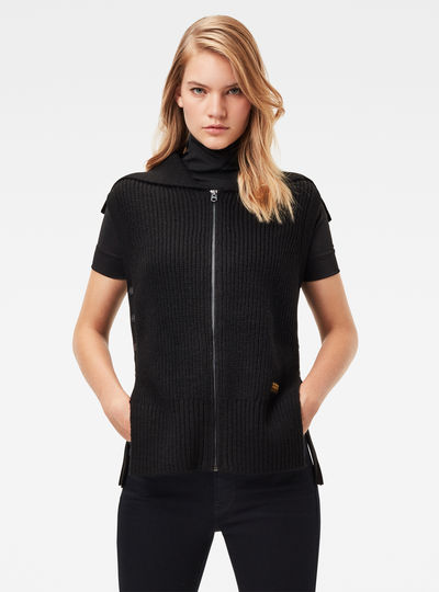Zip Through Collar Knitted Sweater
