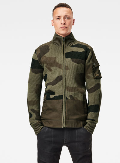 Camo Jacquard Knitted Jacket