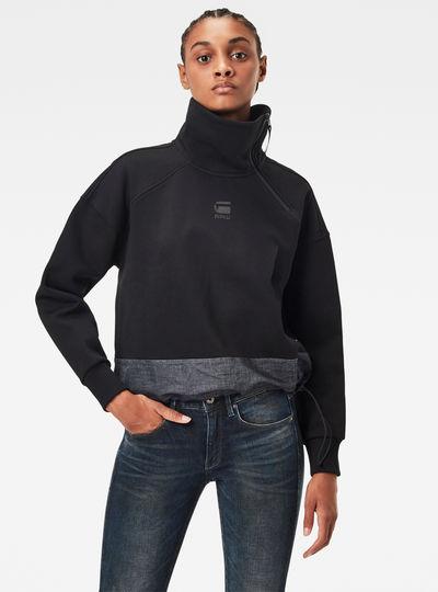 Fabric Mix Zip Sweater