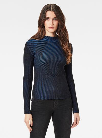Plated Lynn Mock Slim Knitted Sweater