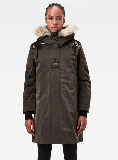 Tech Padded Hooded Faux Fur Long Jacket