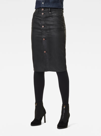 Noxer Navy Button Pencil Skirt