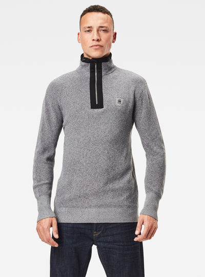 Utility Constructed Half Zip Knitted Sweater