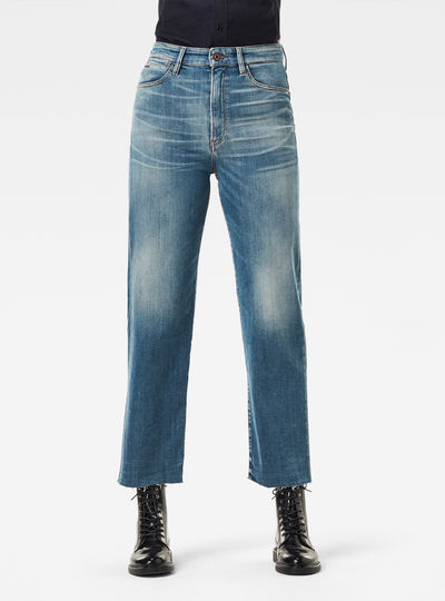 Jeans Tedie Ultra High Straight Raw Edge Ankle