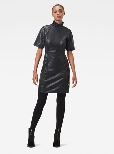 Glossy High Collar Sweat Dress