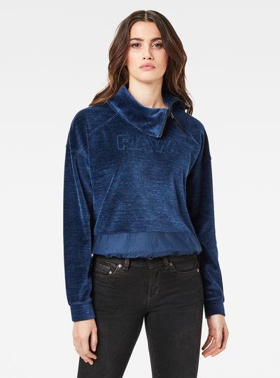 Raw Dot Collar Zip Sweater