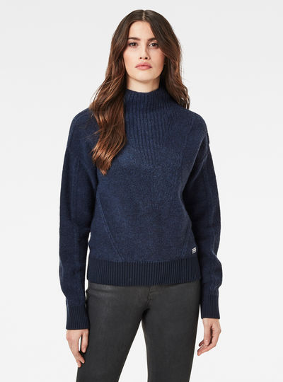 Utility Cable Mock Knitted Sweater