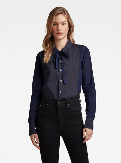 Slim Bow Shirt Indigo