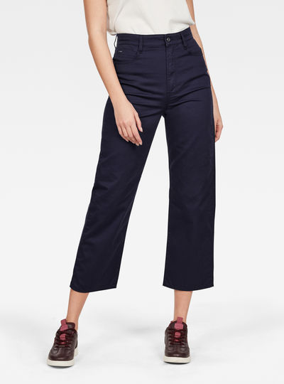 Tedie Ultra High Straight Ripped Edge Ankle Pants