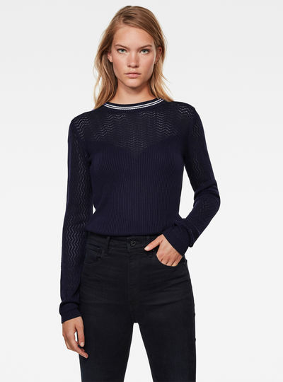 Sweat Pointelle Slim Knitted