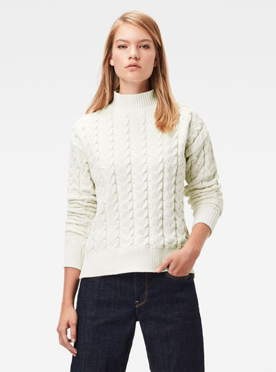 Jersey Cable Knit Mock