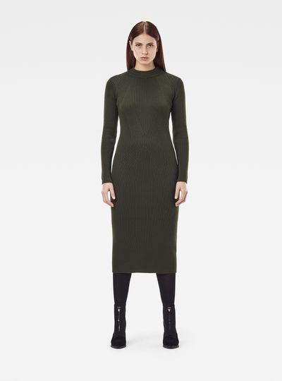 Plated Lynn Mock Slim Knitted Dress
