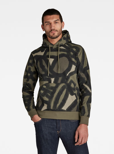 Brush Stroke Allover Hooded Sweater