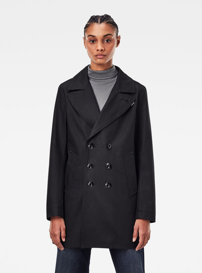 Lined Denim Peacoat