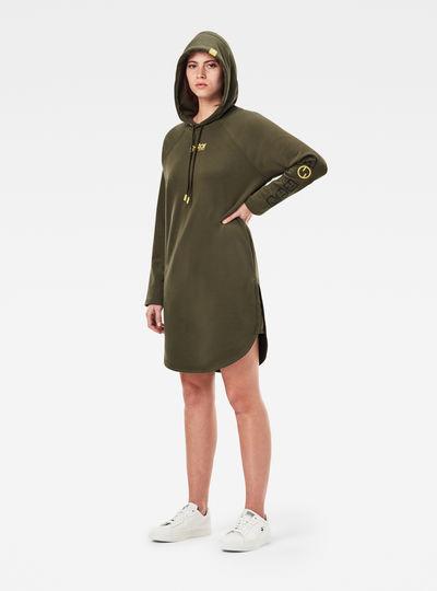 Sleeve Print Hooded Sweat Dress