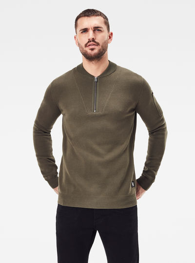 Sleeve Pocket Half Zip knitted Sweater
