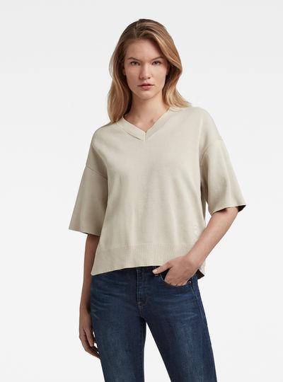 Knitted V-Neck T-Shirt