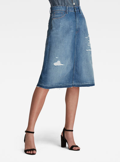 3301 A-Line Midi Ripped Edge Skirt