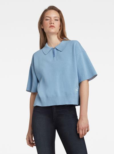 Knitted Zip Poloshirt